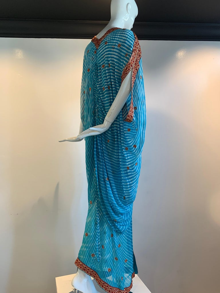 Torso Creations Turquoise Silk Embroidered Double-Layered Caftan W/ Drawstring For Sale 2