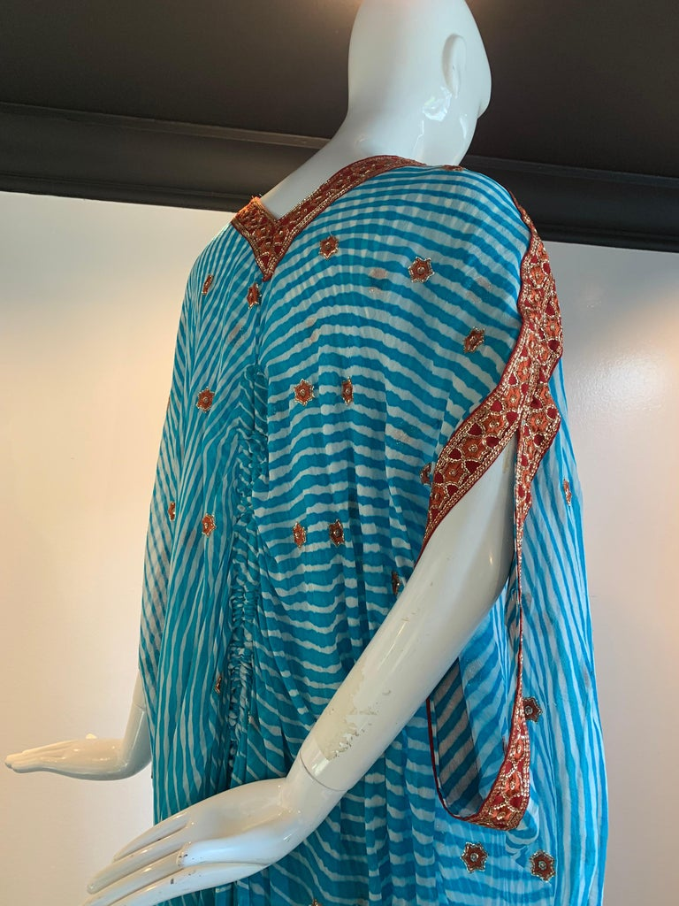 Torso Creations Turquoise Silk Embroidered Double-Layered Caftan W/ Drawstring For Sale 3