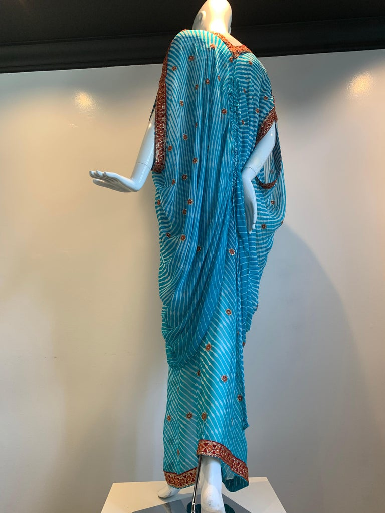 Torso Creations Turquoise Silk Embroidered Double-Layered Caftan W/ Drawstring For Sale 4