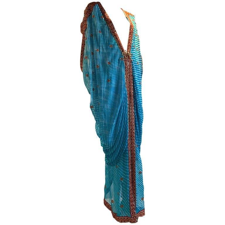 Torso Creations Turquoise Silk Embroidered Double-Layered Caftan W/ Drawstring For Sale