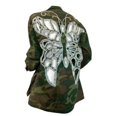 Torso Creations Vintage Military Camouflage Jacket w/Crochet Stenciled Butterfly