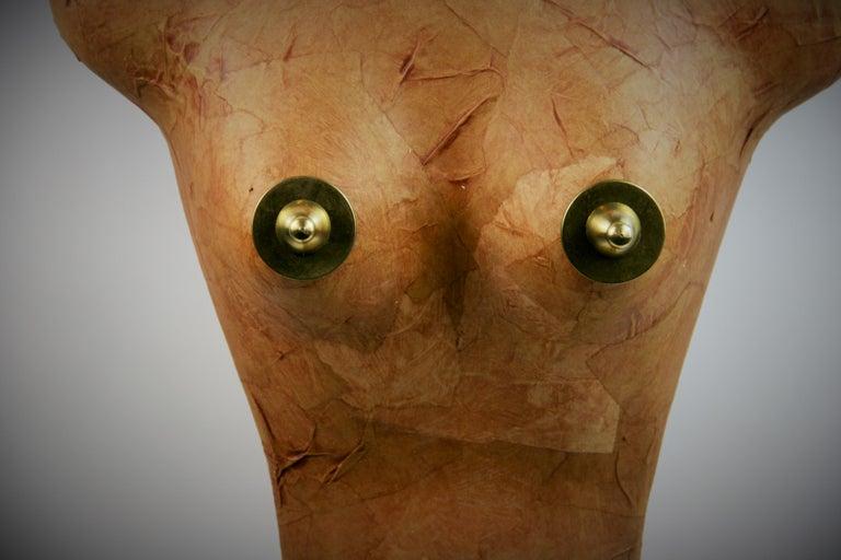 Brass Torso Sculpture by Brunelli For Sale
