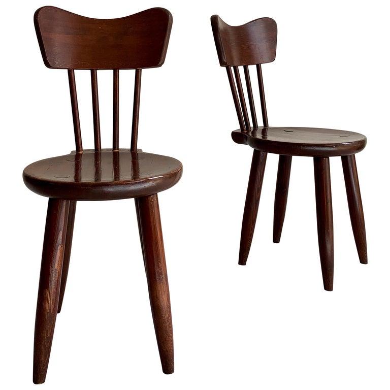 """Torsten Claeson Dining Chairs for """"Steneby Hemslöjd"""" in Pine, 1930s For Sale"""