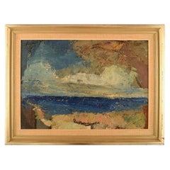 Torsten Hult, Swedish Painter, Oil on Board, Modernist Landscape