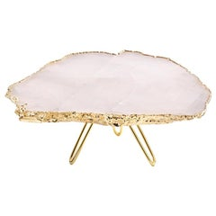 Torta Cake Stand in Rose Quartz and 24-Karat Gold by Anna New York