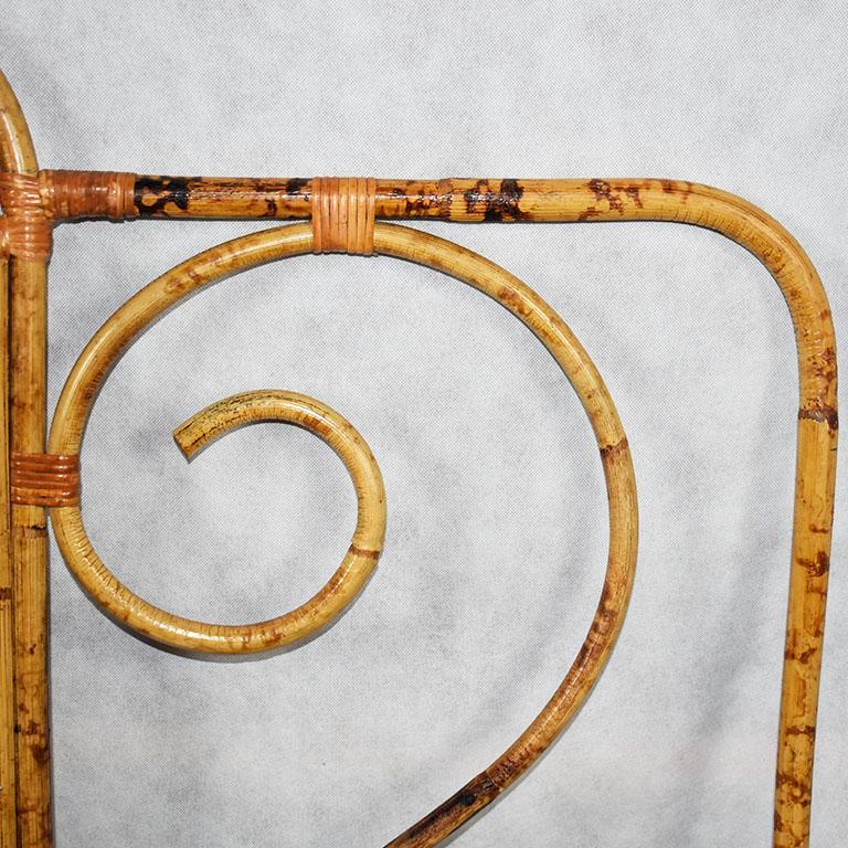 Bohemian Tortoise Bamboo or Burnt Bamboo Cane and Rattan Full Size Headboard For Sale