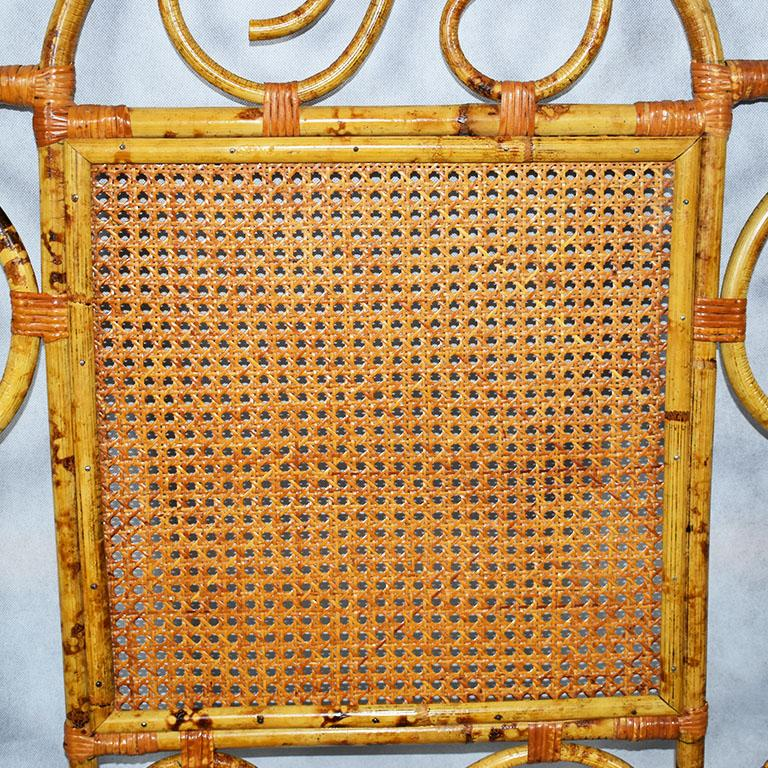 Southeast Asian Tortoise Bamboo or Burnt Bamboo Cane and Rattan Full Size Headboard For Sale