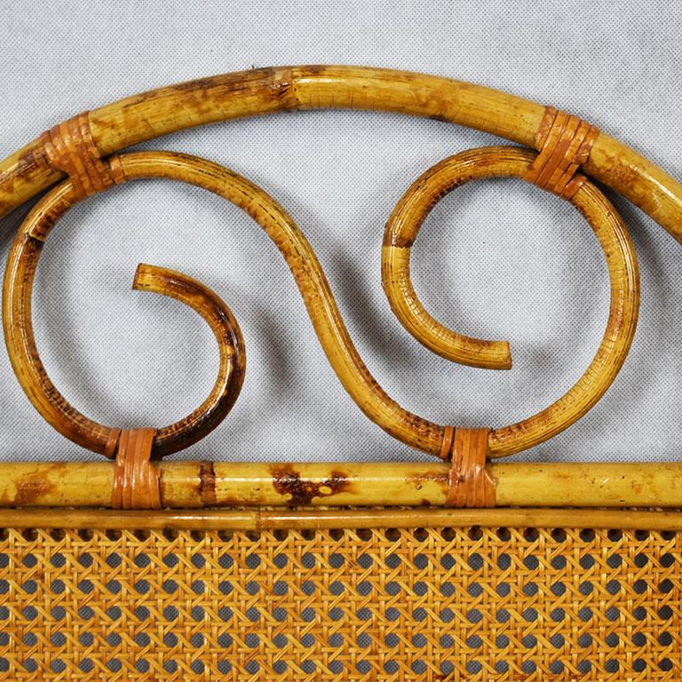 Tortoise Bamboo or Burnt Bamboo Cane and Rattan Full Size Headboard In Good Condition For Sale In Oklahoma City, OK