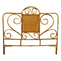 Tortoise Bamboo or Burnt Bamboo Cane and Rattan Full Size Headboard