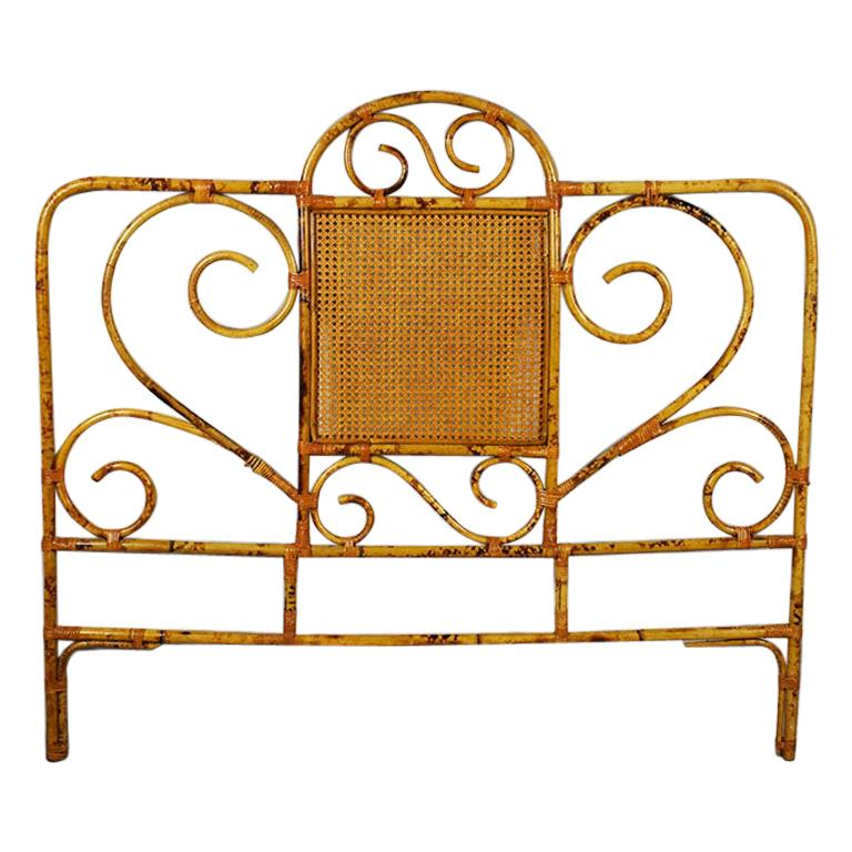 Tortoise Bamboo or Burnt Bamboo Cane and Rattan Full Size Headboard For Sale
