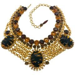 """Tortoise"" Czech Cabochon Swag Chain Necklace"