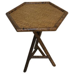 Tortoise Faux Painted Bamboo Tripod End Table