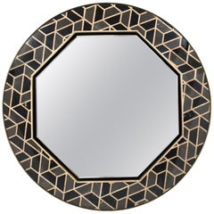 Tortoise Mirror with High Gloss Black Lacquered Wood Structure