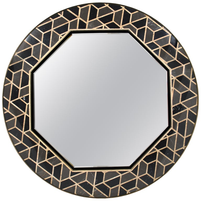 Tortoise Mirror with High Gloss Black Lacquered Wood Structure For Sale