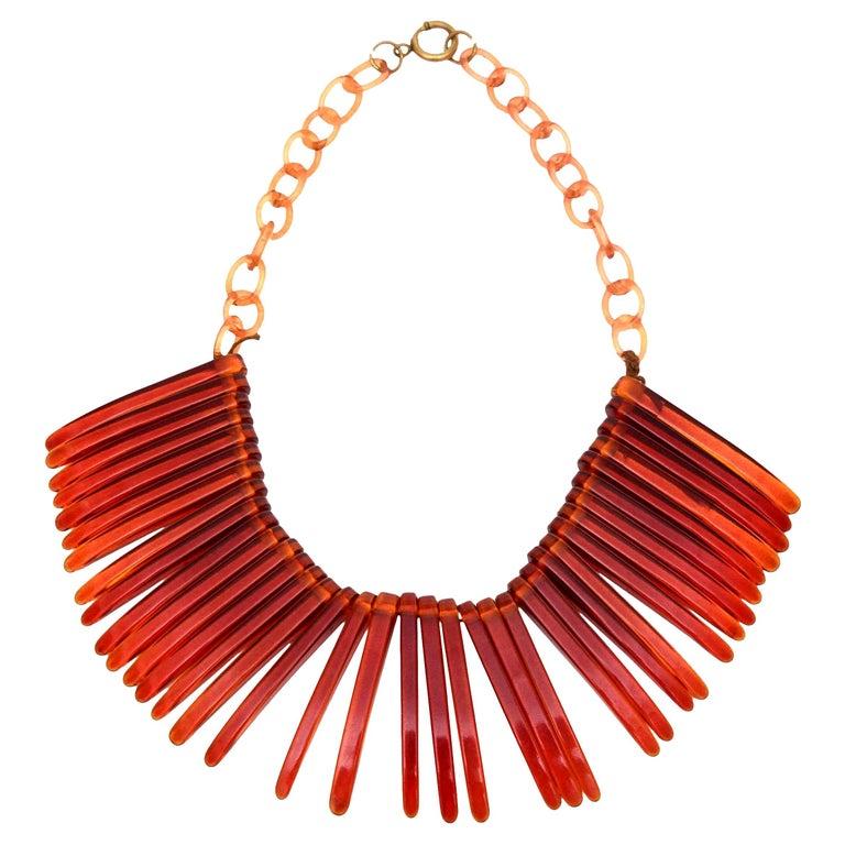 Tortoise Resin Fringe Collar Bib Necklace Vintage For Sale