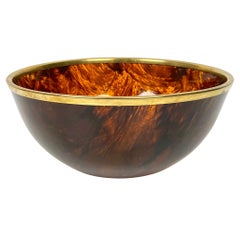 Tortoise Shell Effect Lucite and Brass Bowl Centerpiece, Italy, 1970s