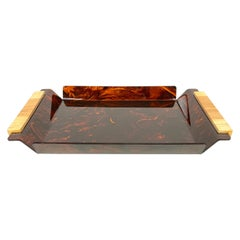 Tortoise Shell Effect Lucite and Wood Serving Tray Centerpiece, Italy, 1970s