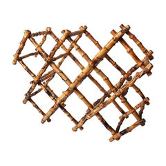 Tortoise Shell or Scorched Bamboo Collapsable 8 Bottle Wine Rack