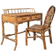 Tortoise Shell Rattan Desk/Vanity Table and Chair Set
