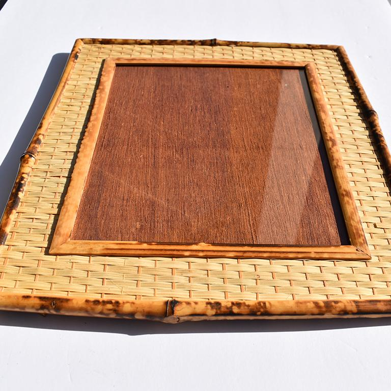 Grasscloth Tortoise Shell, Tiger Wood or Scorched Bamboo Photo Frame with Stand, Taiwan For Sale