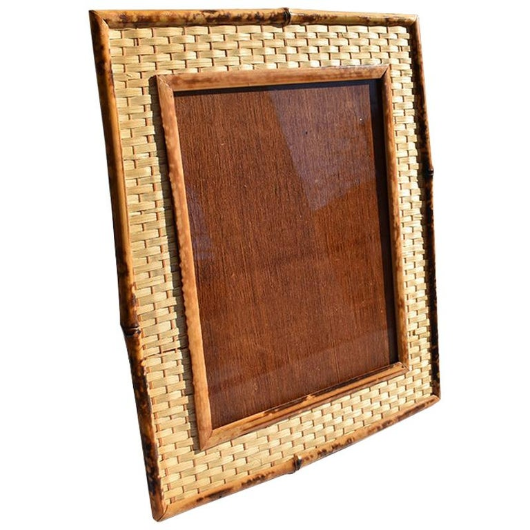 Tortoise Shell, Tiger Wood or Scorched Bamboo Photo Frame with Stand, Taiwan For Sale