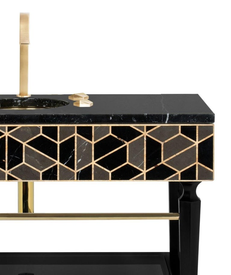 Portuguese Tortoise Single Washbasin with High Gloss Black Lacquered Wood Structure For Sale