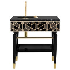 Tortoise Single Washbasin with High Gloss Black Lacquered Wood Structure