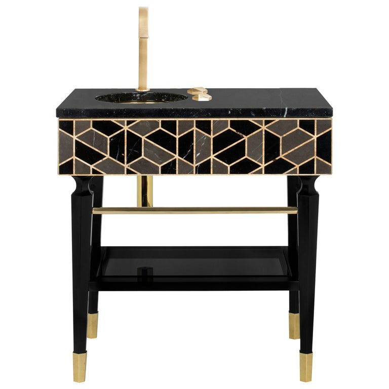 Tortoise Single Washbasin with High Gloss Black Lacquered Wood Structure For Sale