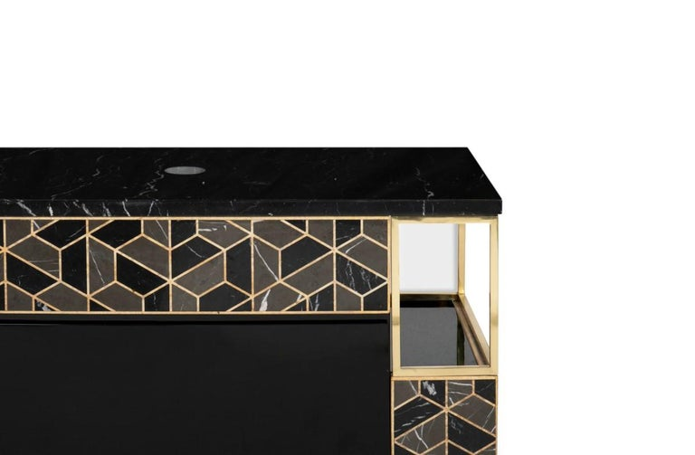 Black, grey and golden colors perfectly blend on this marvelous piece, inspired by the tortoise's hard outer shell. A perfect combination of superb design and foolproof functionality, this cabinet includes two spacious black lacquered drawers, as