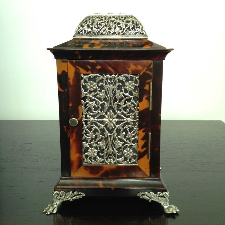 Tortoiseshell and Silver Carriage Clock John Batson, London, Circa 1890 For Sale 4
