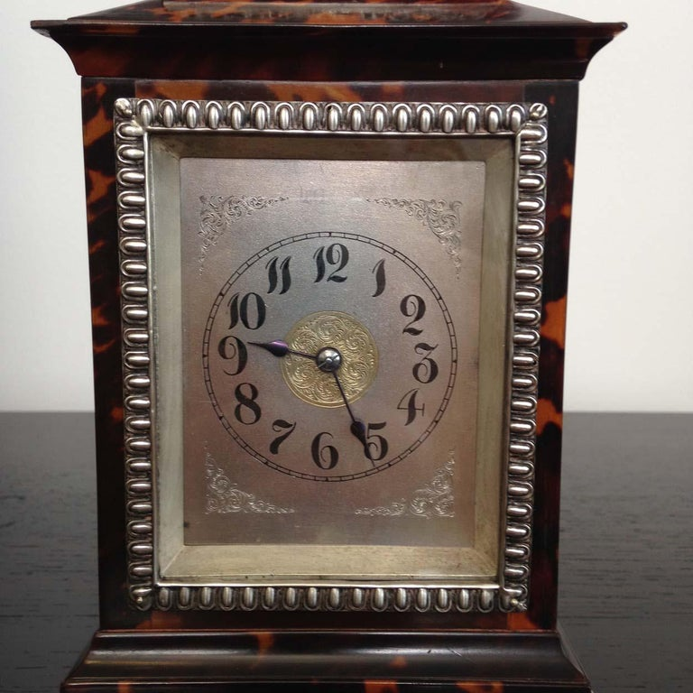 A tortoiseshell and silver carriage clock, maker John Batson, London 1890/91.