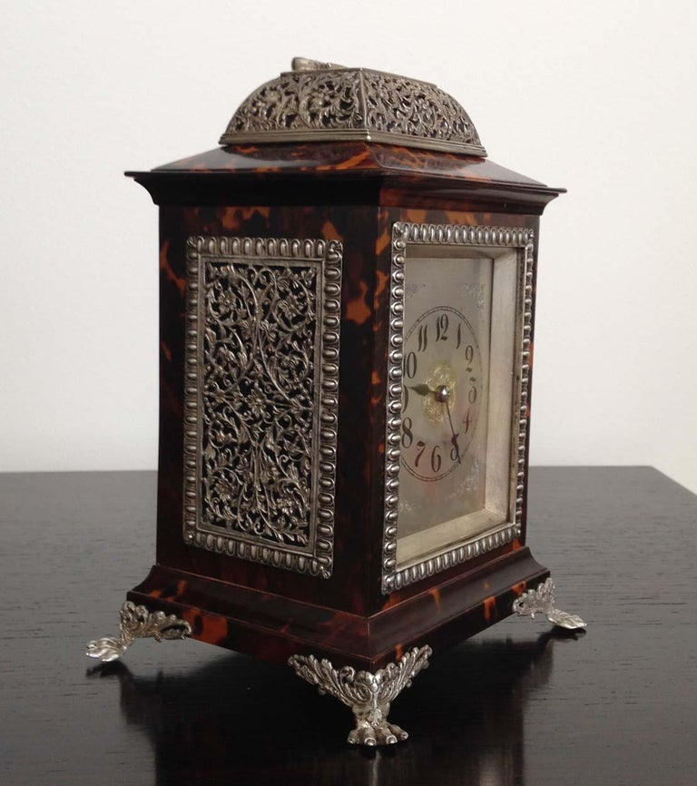 Georgian Tortoiseshell and Silver Carriage Clock John Batson, London, Circa 1890 For Sale