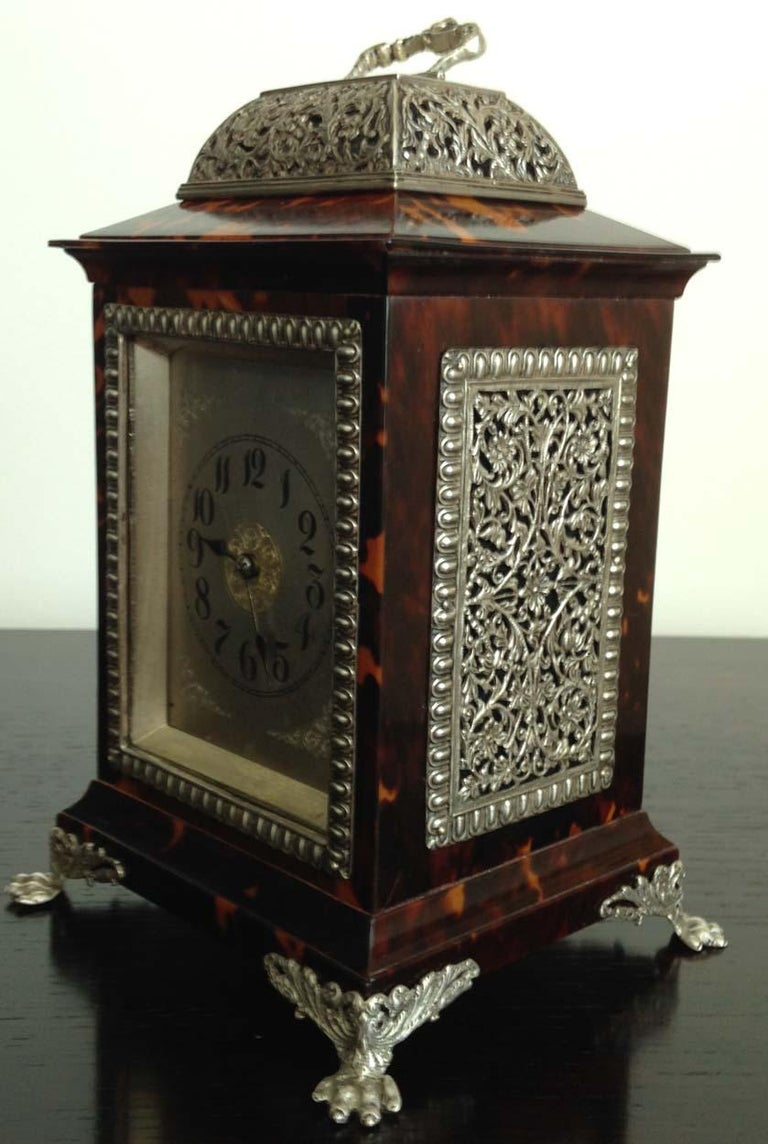 British Tortoiseshell and Silver Carriage Clock John Batson, London, Circa 1890 For Sale