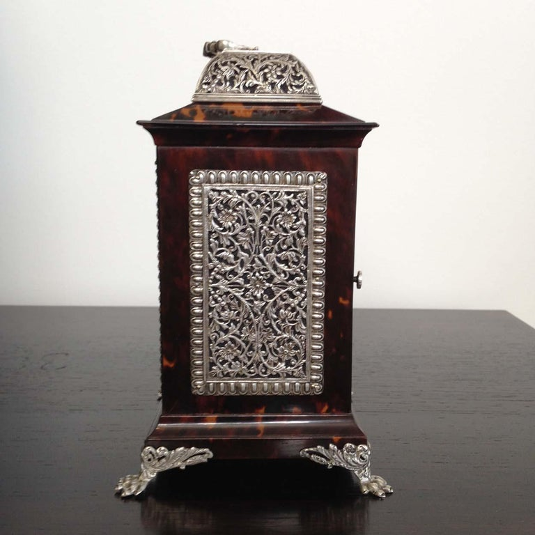 19th Century Tortoiseshell and Silver Carriage Clock John Batson, London, Circa 1890 For Sale