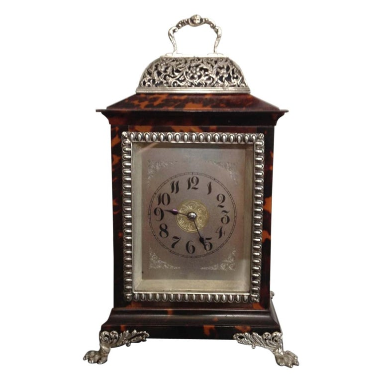 Tortoiseshell and Silver Carriage Clock John Batson, London, Circa 1890 For Sale