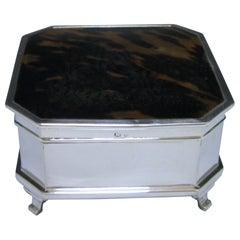 Tortoiseshell and Silver Jewelry Box by Mappin & Webb