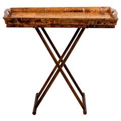 Tortoiseshell Bamboo Butler's Tray on Stand