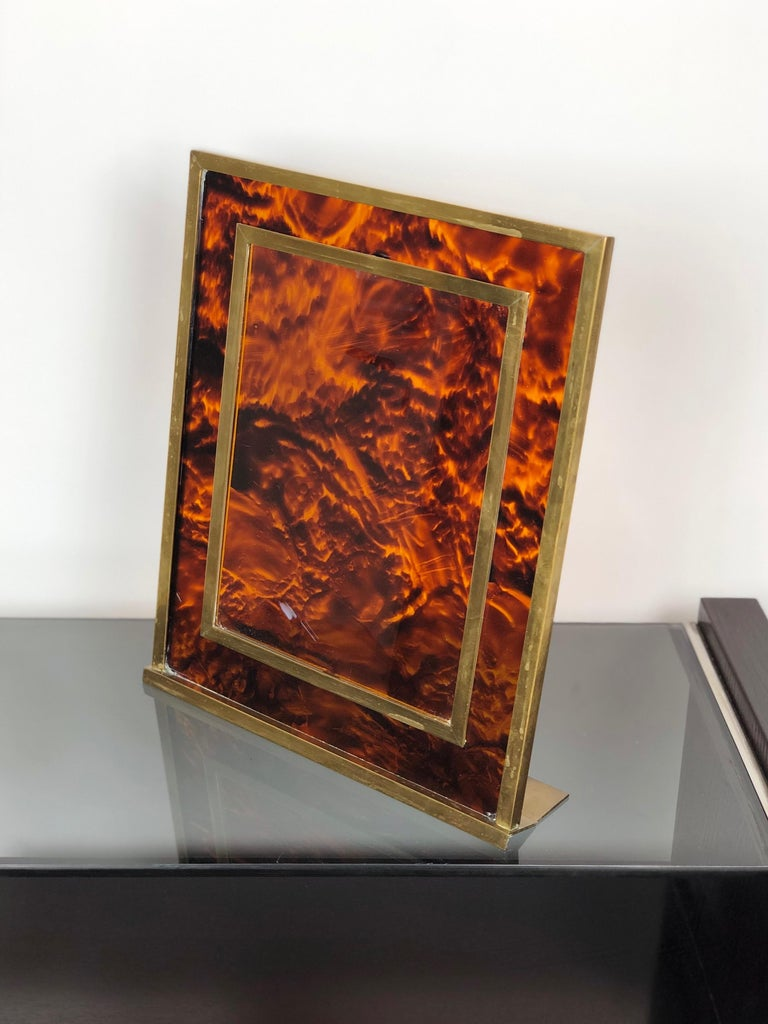 Mid-Century Modern Tortoiseshell Lucite and Brass Picture Photo Frame Christian Dior Style, 1970s For Sale