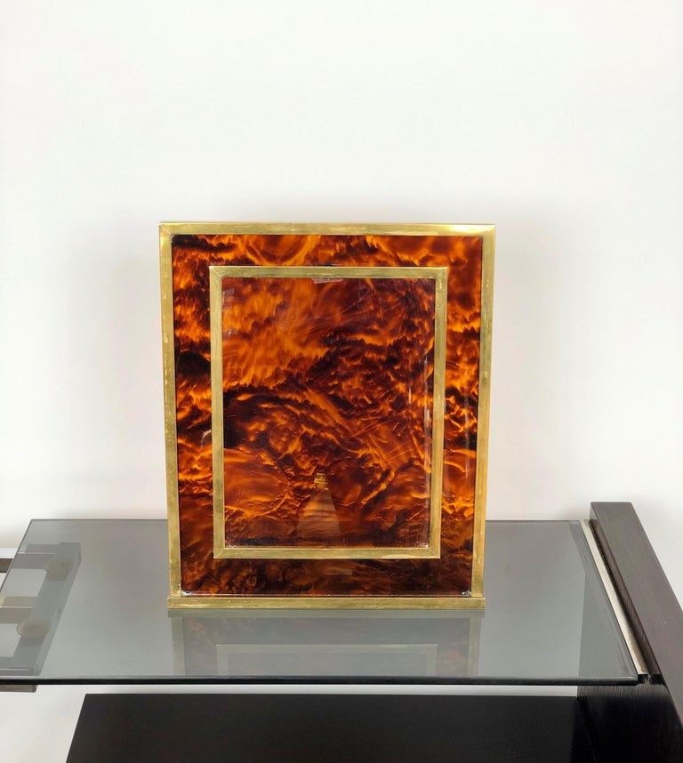 French Tortoiseshell Lucite and Brass Picture Photo Frame Christian Dior Style, 1970s For Sale