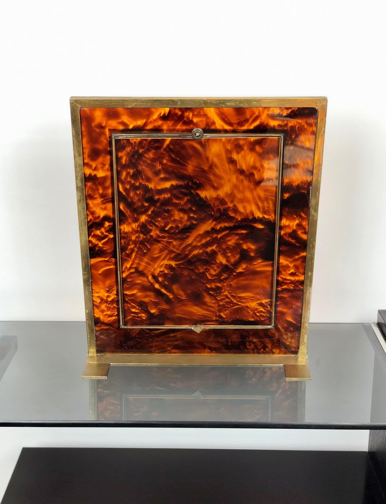 Tortoiseshell Lucite and Brass Picture Photo Frame Christian Dior Style, 1970s For Sale 1