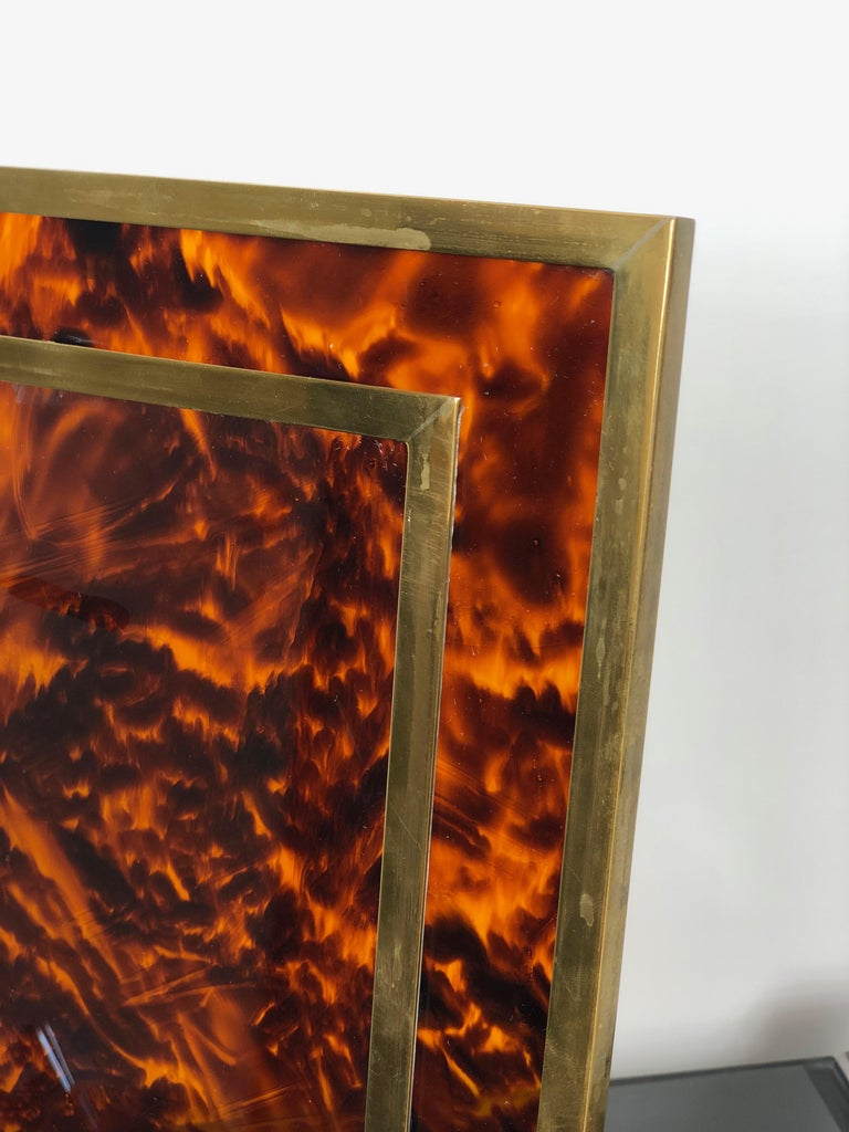 Tortoiseshell Lucite and Brass Picture Photo Frame Christian Dior Style, 1970s For Sale 2