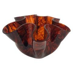Tortoiseshell Lucite Handkerchief Centerpiece Vase, Italy, 1970s