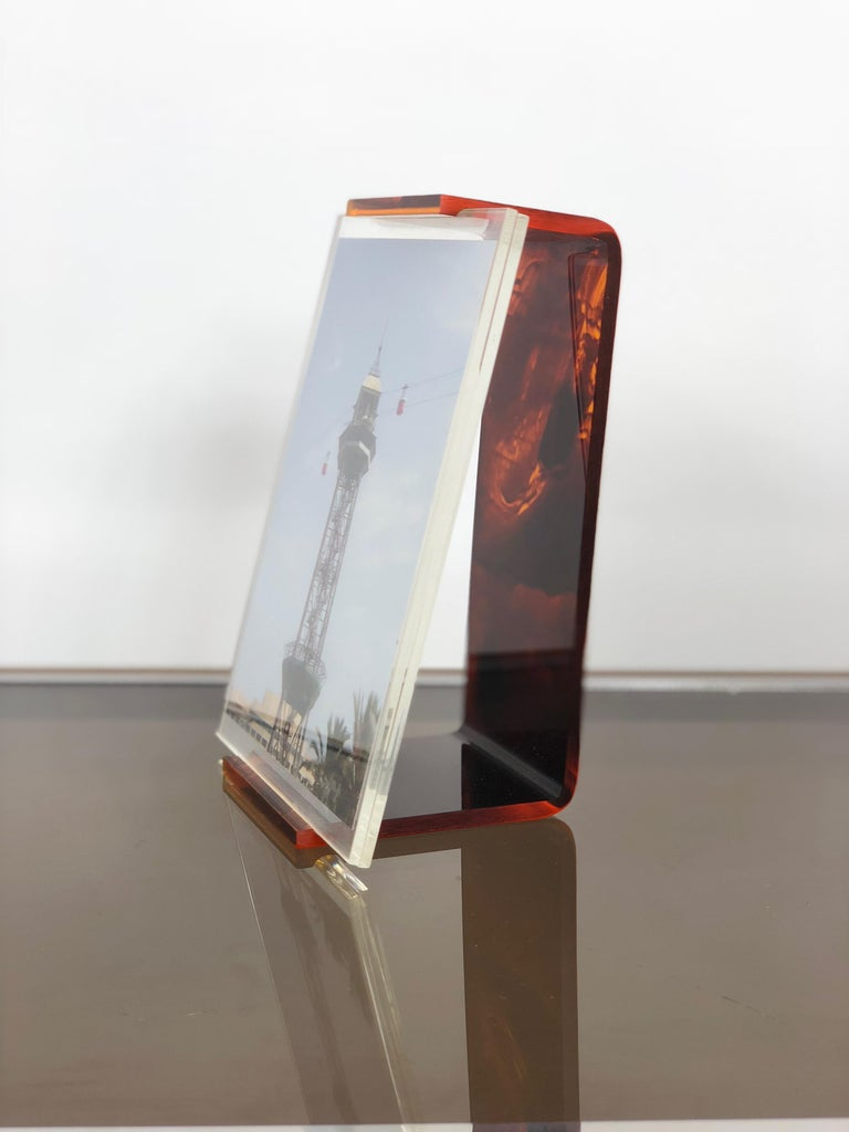 Italian Tortoiseshell Lucite Picture Photo Frame Holder 1970s in Christian Dior Style For Sale