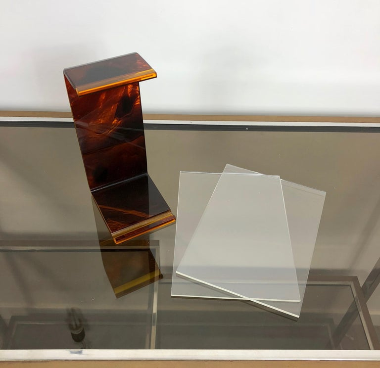 Tortoiseshell Lucite Picture Photo Frame Holder 1970s in Christian Dior Style For Sale 1