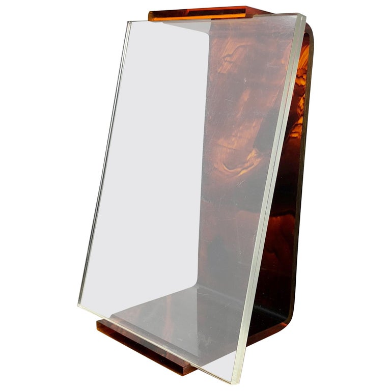 Tortoiseshell Lucite Picture Photo Frame Holder 1970s in Christian Dior Style For Sale