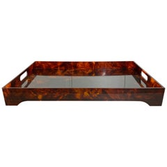 Tortoiseshell Lucite Serving Tray Centerpiece, Willy Rizzo Style, Italy, 1970s