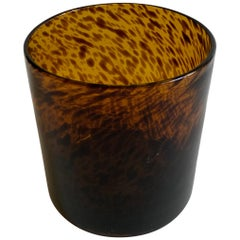 Tortoiseshell Pattern Glass Vase or Ice Bucket