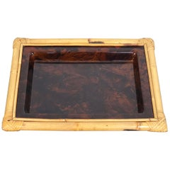 Tortoiseshell Serving Tray Centerpiece in Lucite and Bamboo, 1970s, Italy
