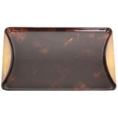 Tortoiseshell Serving Tray in Lucite and Brass by Guzzini, 1970s, Italy