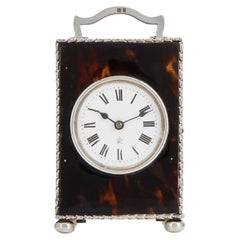 Tortoiseshell & Sterling Silver Carriage Clock London 1920